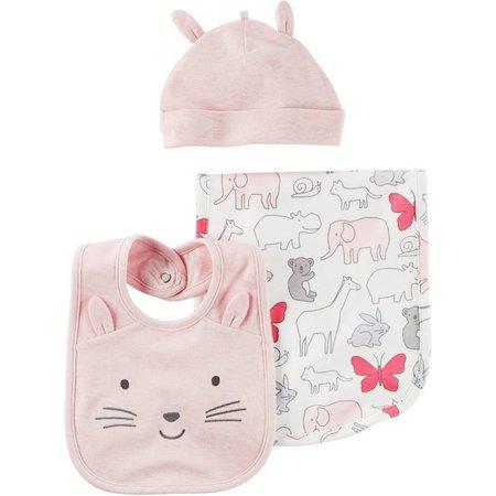Carters Baby Girls 3-pc. Baby Pink Burp Cloth