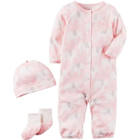 Carters Baby Girls 3-pc. Elephants Layette Set