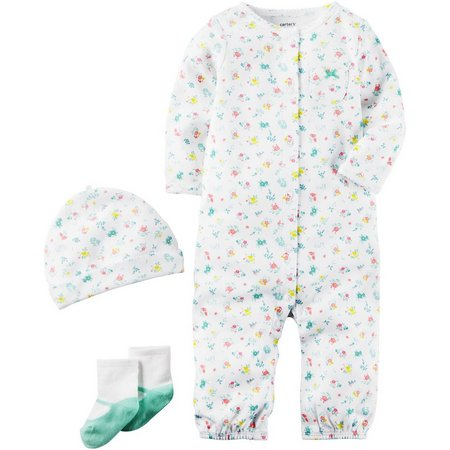 New! Carters Baby Girls 3-pc. Floral Pocket Layette