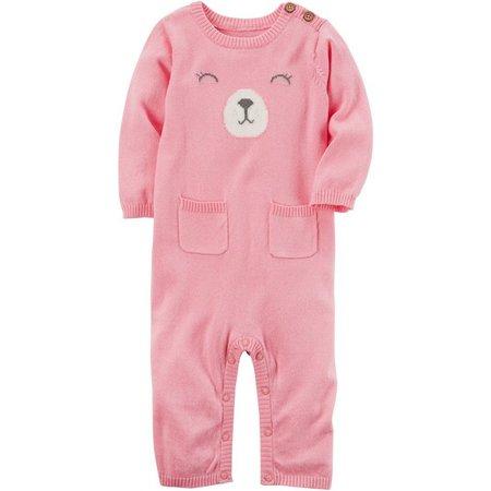 Carters Baby Girls Bear Pocket Jumpsuit
