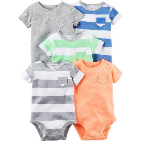 Carters Baby Boys 5-pk. Stripe & Heather Bodysuits