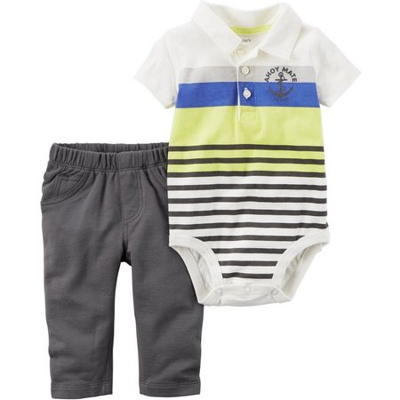 Carters Baby Boys Ahoy Mate Striped Polo Pants