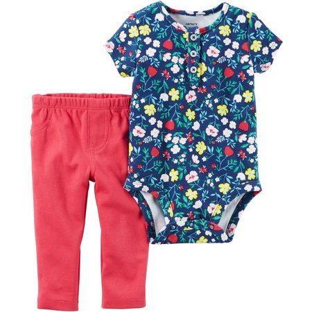 Carters Baby Girls Floral Print Pants Set