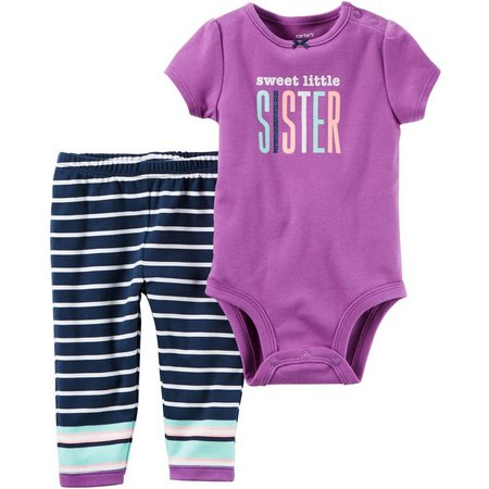 Carters Baby Girls Sweet Little Sister Pants Set