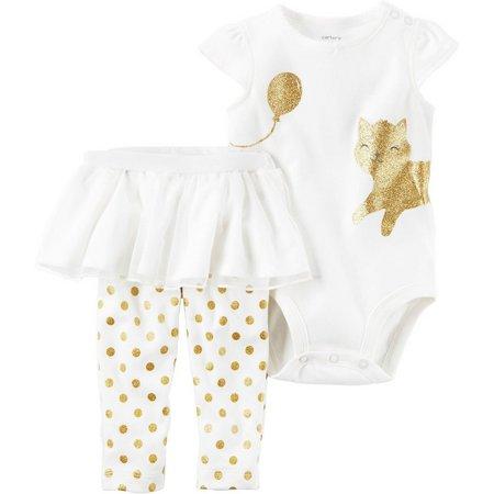 Carters Baby Girls Glitter Kitten Tutu Pants Set