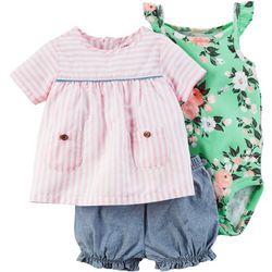 Carters Baby Girls 3-pc. Chambray Layette Set