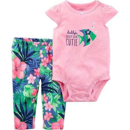 Carters Baby Girls Daddy's Cutie Floral Pants Set