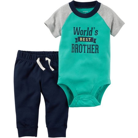 Carters Baby Boys World's Best Brother Pants Set