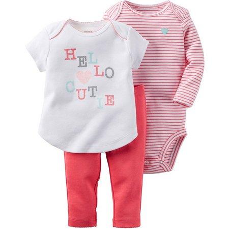 Carters Baby Girls 3-pc. Hello Cutie Pants Set