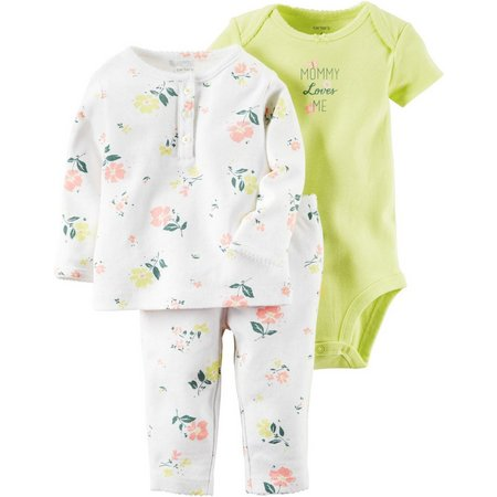 Carters Baby Girls Little Blooms 3-pc. Pants Set