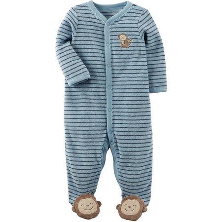 New! Carters Baby Boys Stripe Monkey Sleep &