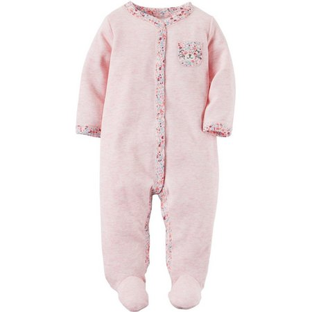 New! Carters Baby Girls Floral Bear Pocket Sleep