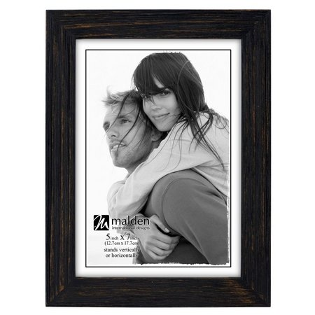 Malden 5'' x 7'' Black Distressed Photo Frame