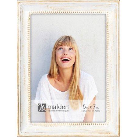 Malden 5'' x 7'' Narrow Bead Distressed White