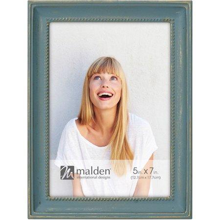 Malden 5'' x 7'' Narrow Bead Distressed Blue