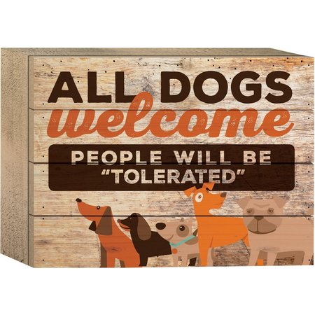 P. Graham Dunn All Dogs Welcome Box Sign