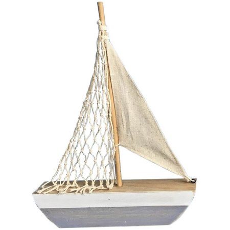 Fancy That Silver Sea Striped Sailboat Decor