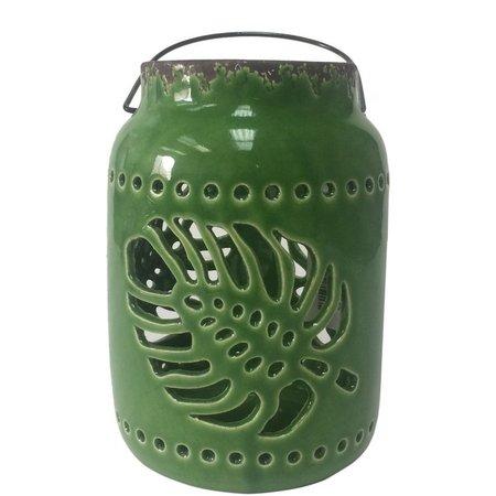 Fancy That Fancy Flamingo Ceramic Palm Leaf Lantern