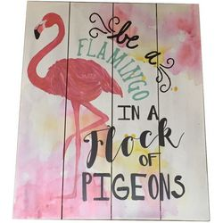 Fancy That Be A Flamingo Wood Plank Sign