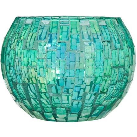 Home Essentials Green Mosaic Glass Rose Bowl