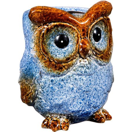 Home Essentials Blue Owl Ceramic Planter