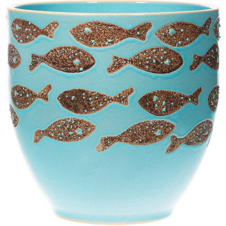Home Essentials Blue Fish Rim Planter