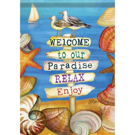 Carson Home Accents Welcome Paradise Garden Flag