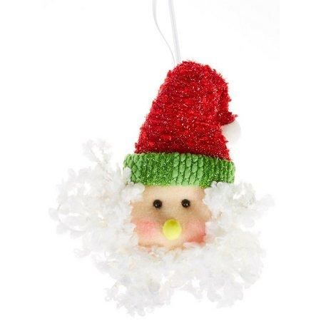 Brighten the Season Santa Head Plush Ornament