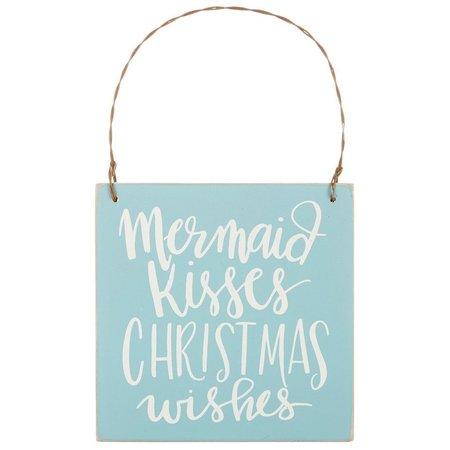 Primitives By Kathy Mermaid Kisses Sign Ornament