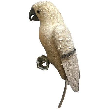 Fancy That White Glitter Parrot Ornament