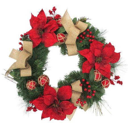 Brighten the Season Red Glitter Poinsettia Wreath