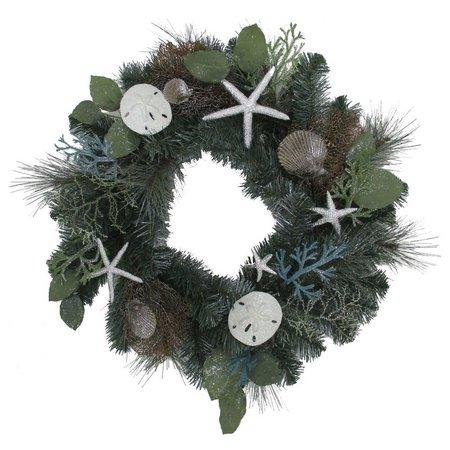 Brighten the Season 24'' Silver Shell Wreath Decor