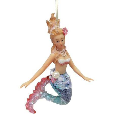 Brighten the Season Mermaid with Pink Fin Ornament