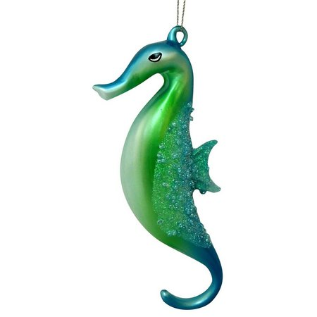 Brighten the Season Glass Aqua Seahorse Ornament