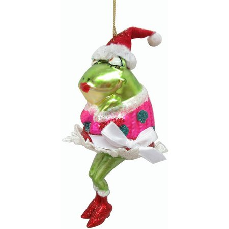 Brighten the Season Christmas Hat Frog Ornament