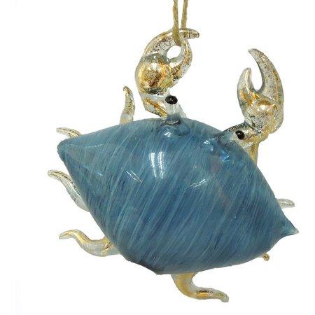 Brighten the Season Dark Blue Glass Crab Ornament