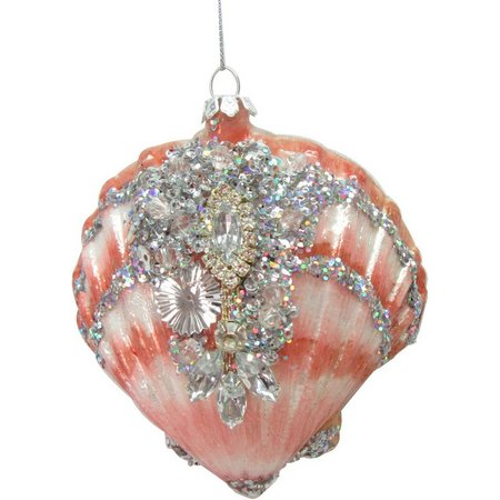 Brighten the Season Beaded Pink Shell Ornament