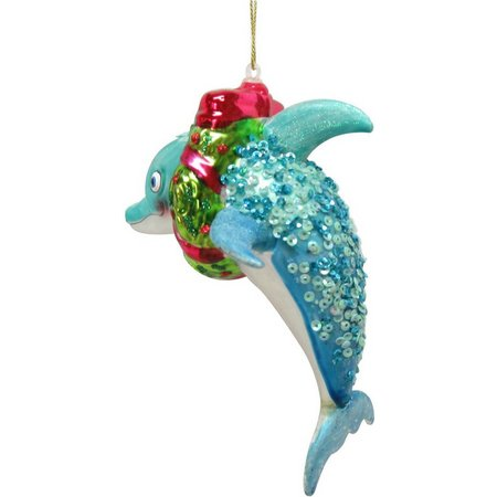 Brighten the Season Dolphin with Wreath Ornament