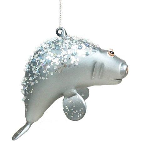 Brighten the Season Glass Manatee Ornament
