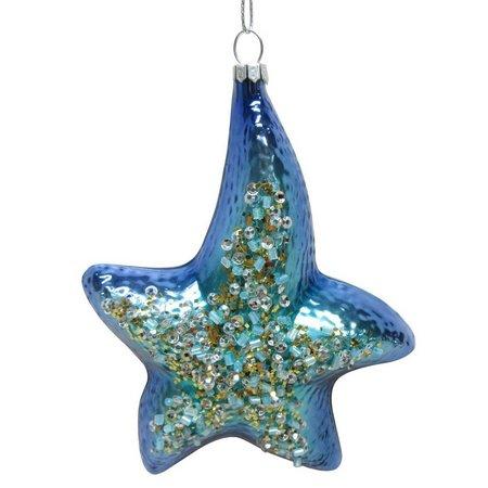 Brighten the Season Glass Sequin Starfish Ornsment