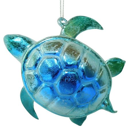 Brighten the Season Blue Glass Turtle Ornament