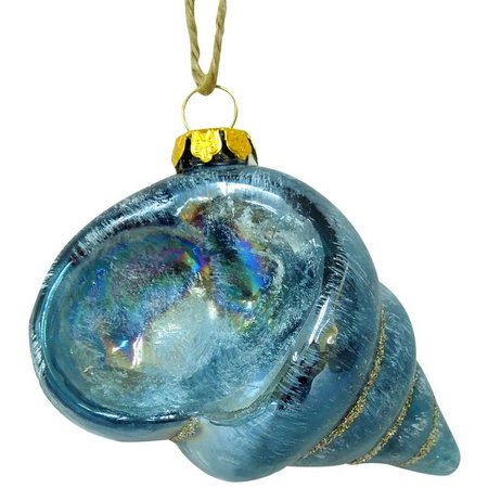Brighten the Season Dark Blue Glass Conch Ornament
