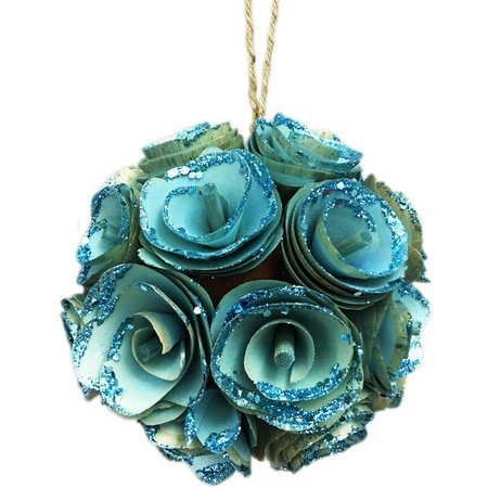 Brighten the Season Wood Rose Ball Ornament