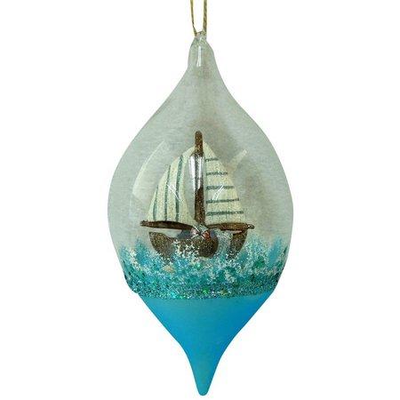 Brighten the Season Boat in Glass Ball Ornament