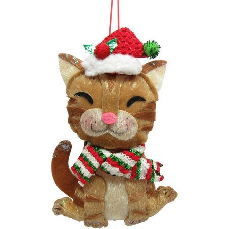 Brighten the Season Fabric Scarf Cat Ornament