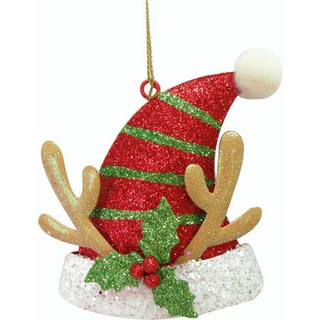 Brighten the Season Santa Hat with Antler Ornament