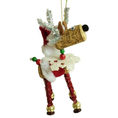 Brighten the Season Cork Deer with Hat Ornament
