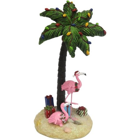 Brighten the Season Palm Tree & Flamingo Figurine