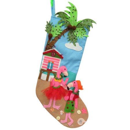Brighten the Season Couple Flamingo Stocking