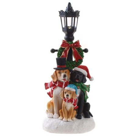 Brighten the Season LED Lamp with Dog Trio